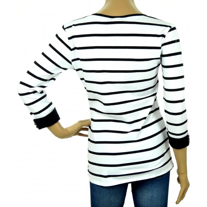 Bluzka w paski rozpinana (biało czarna)