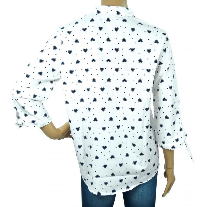 Elegancka bluzka w granatowe serduszka