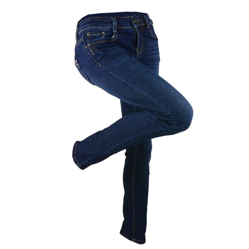 a999b2cc1 Jeansy damskie przecierane z dżetami na kieszonkach | eStilex.pl ...