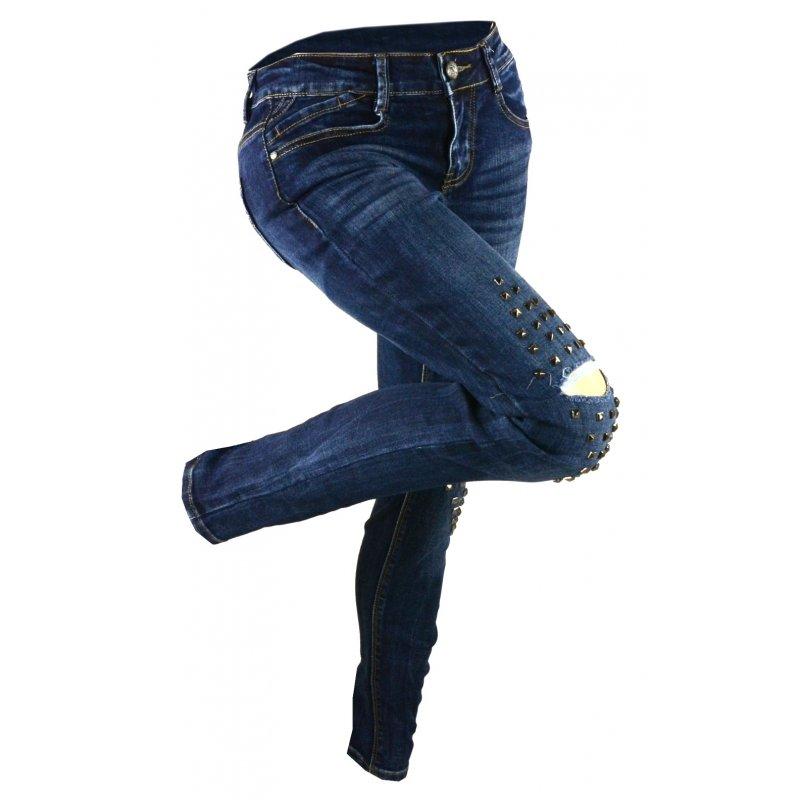 Jeansy damskie przecierane z dżetami na kolanach
