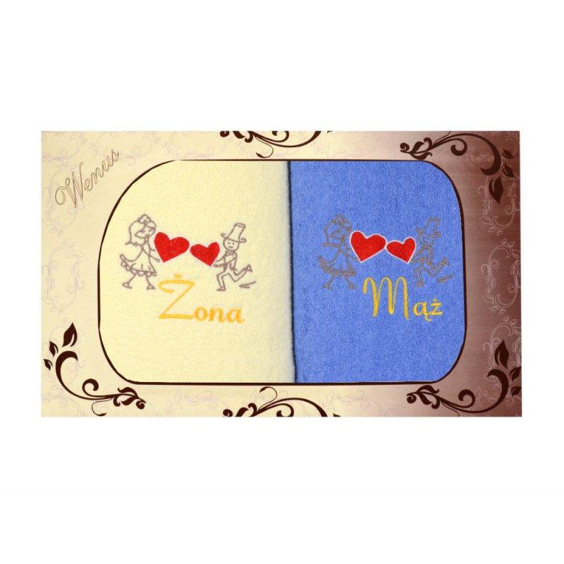 Komplet ręczników na prezent 2cz Mąż Żona MZ-3307 Komplety Ręczników na Ślub