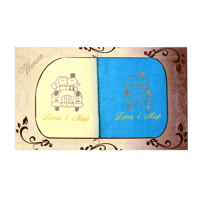 Komplet ręczników na prezent 2cz Mąż Żona MZ-3310 Komplet Recznikow na Rocznice Slubu