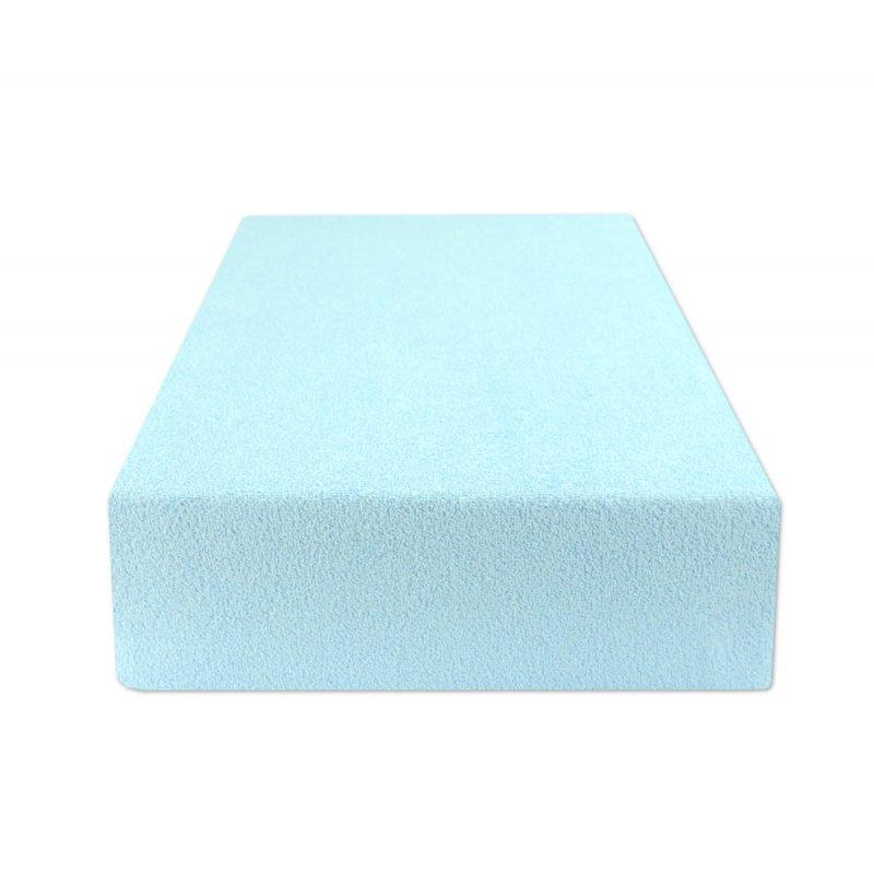 Jasno Niebieskie prześcieradło z gumką 180x200 FROTTE Jasny Niebieski Prześcieradło Frotte 180x200