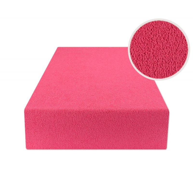 Ciemno różowe prześcieradło z gumką 200x220 FROTTE Ciemny Róż Fuksja Prześcieradło z Gumką Frotte 200x220