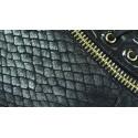 Botki na niskiej koturnie wąż (czarne)