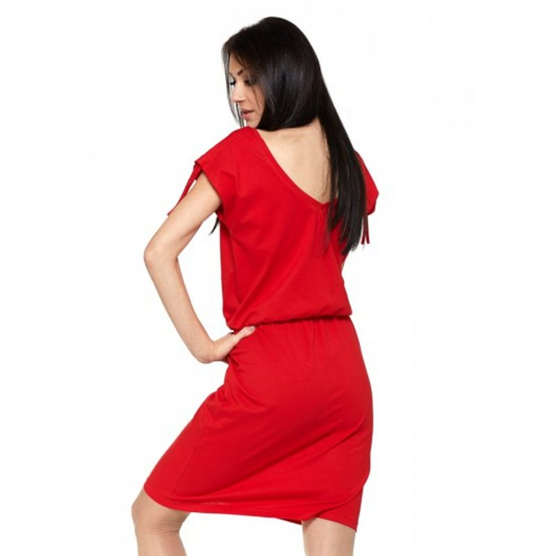 Lekka sukienka z dzianiny bawełnianej- czerwona