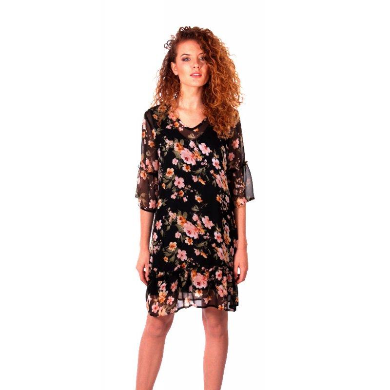 820121793e Zwiewna sukienka w kwiaty z falbankami - czarna