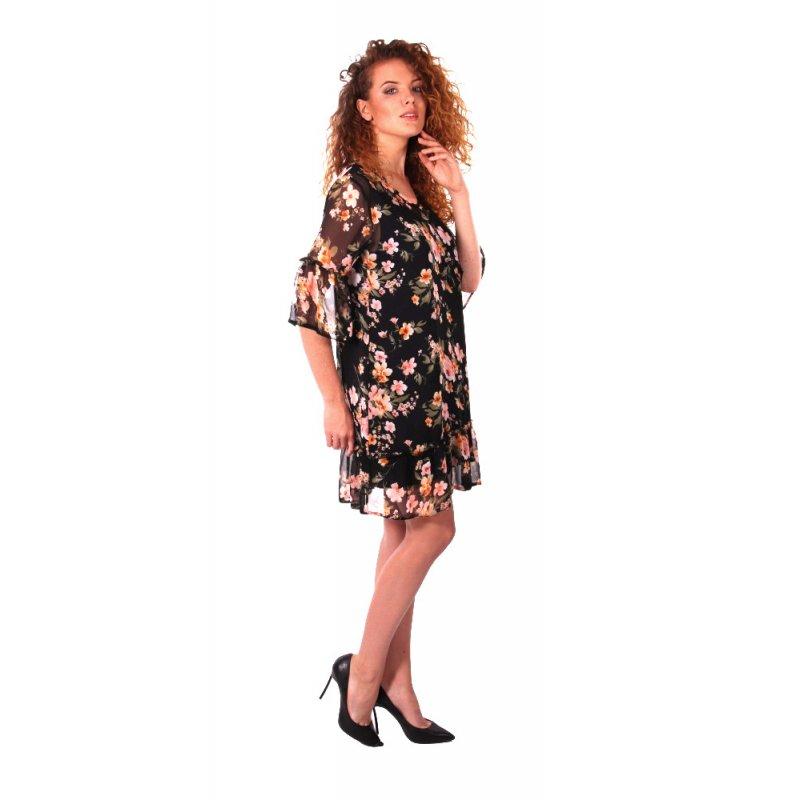 Zwiewna sukienka w kwiaty z falbankami - czarna