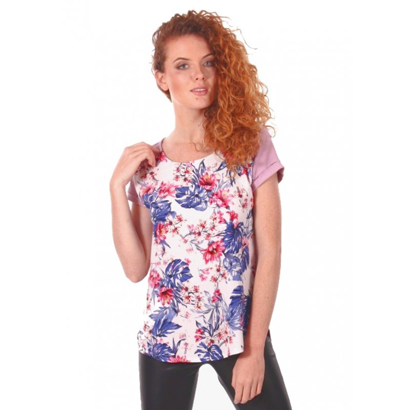 Zwiewna bluzka damska w kwiaty- wrzosowa