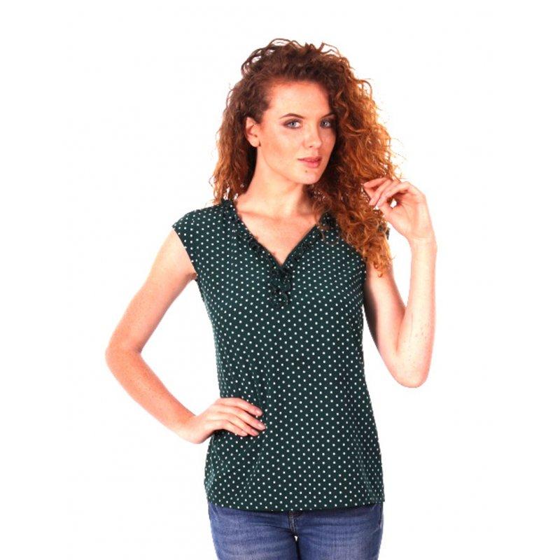 Zwiewna bluzka damska z małym żabotem- zielony morski
