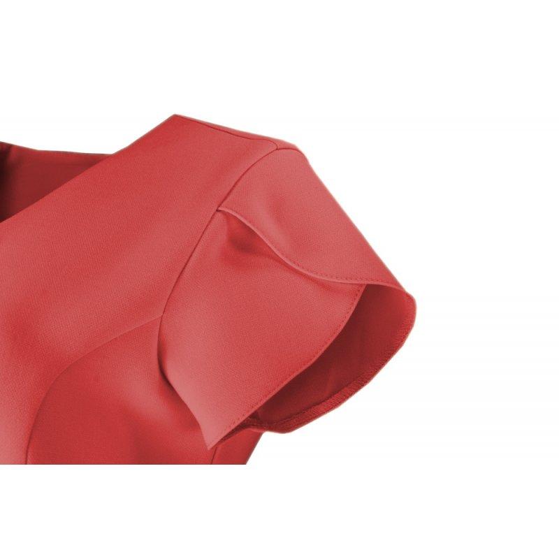Sukienka koktajlowa z rękawem typu motylek - malina