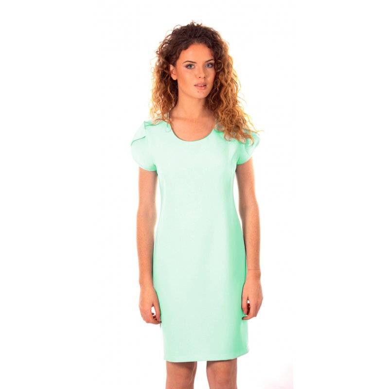 e26ac515ea Sukienka koktajlowa z rękawem typu motylek - miętowa