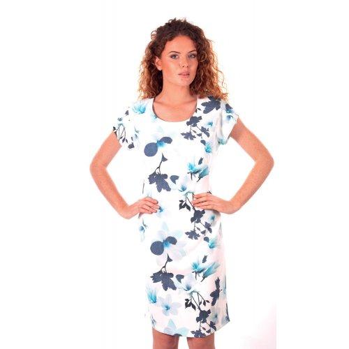 Sukienka koktajlowa z rękawem motylek - niebieskie kwiaty