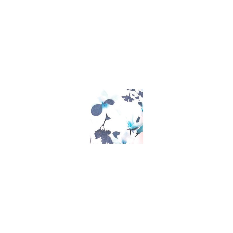 Sukienka koktajlowa z rękawem motylek- niebieskie kwiaty