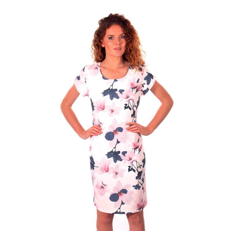 Sukienka koktajlowa z rękawem motylek - różowe kwiaty