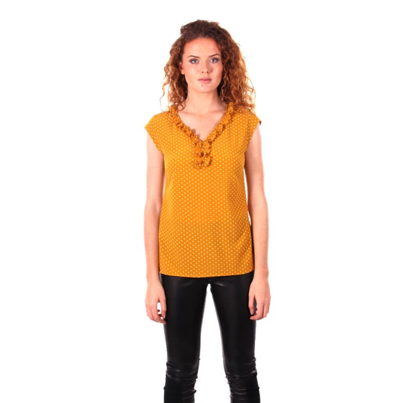Zwiewna bluzka damska z małym żabotem - musztarda