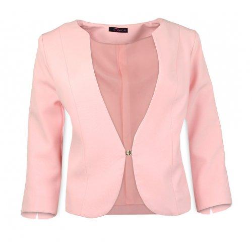 Jasno różowy żakiet na wesele - POLSKI PRODUCENT - pudrowy róż modny żakiet