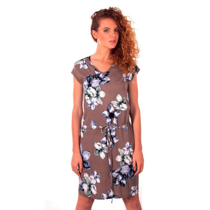 Sukienka w kwiaty Sukienka z wiązaniem w talii - polski producent Sukienka damska