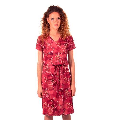 Sukienka w listki wiązana w talii - polski producent- róż