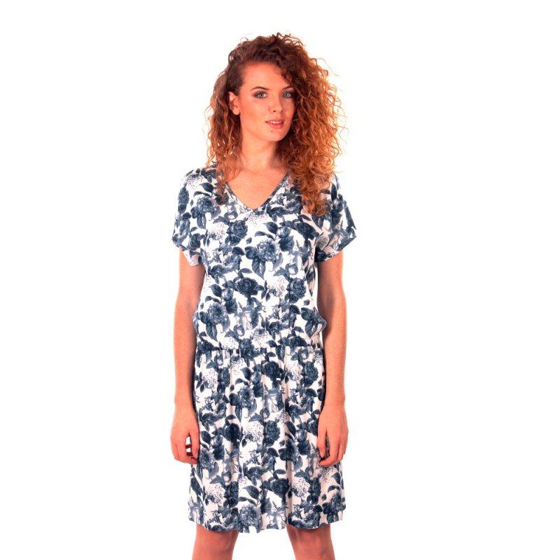 Sukienka z gumką w talii- polski producent- niebieska