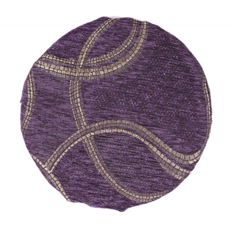 Okrągła Poduszka na Taboret 30 cm Gold Violet Okrągłe Poduszki na Taboret