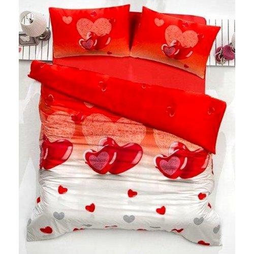 Pościel Dla Par 160x200 Valentini Bianco Lovely Czerwień Pościel 160x200 Satynowa