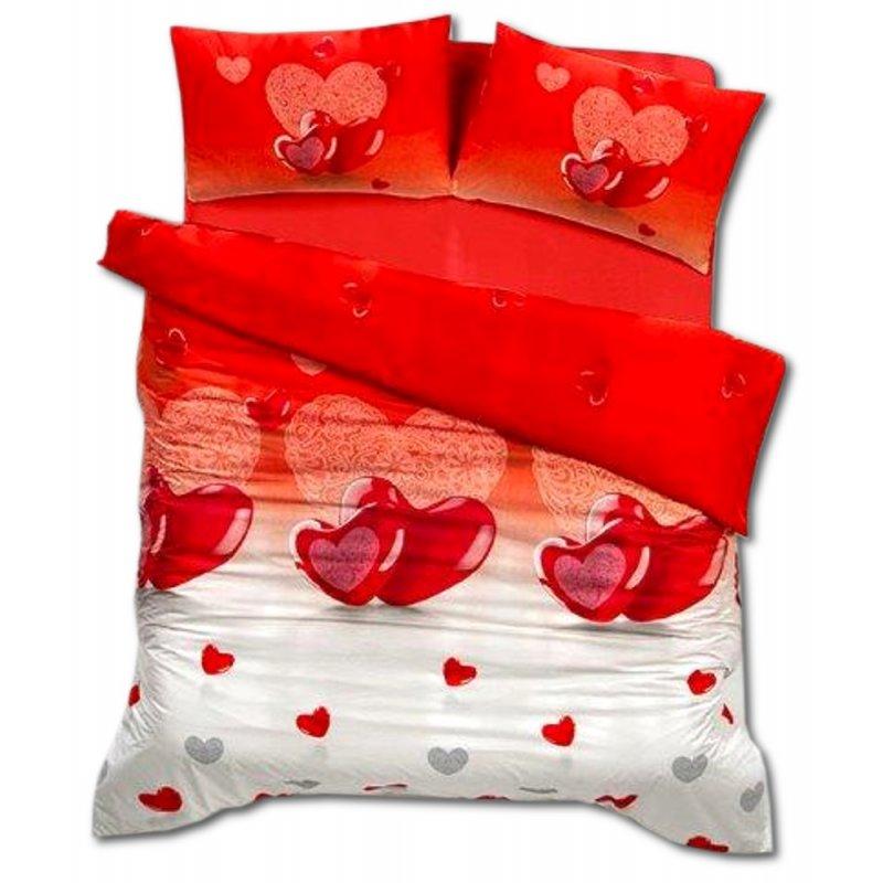 Pościel 3D satyna bawełniana 200x220 Valentini Bianco Lovely Czerwień Pościel 3D 200x220 satyna bawełniana Pościel na walentynki