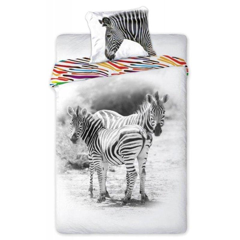 Pościel 160x200 Bawełniana WILD NATURE Zebra Pościel ze Zwierzętami Pościel 160x200 Jedna Poduszka