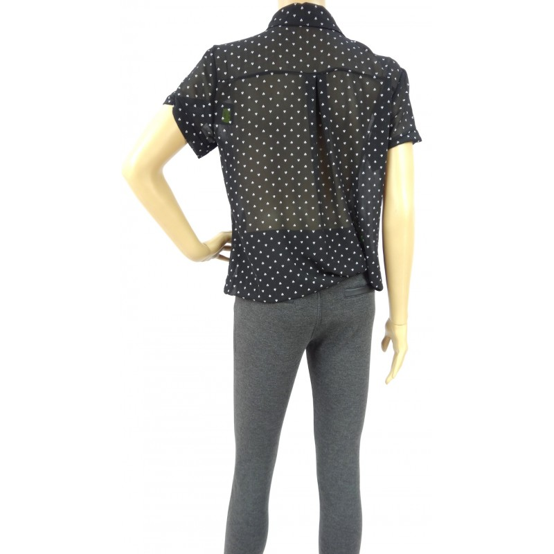 Bluzka szyfonowa z gumką (czarna)