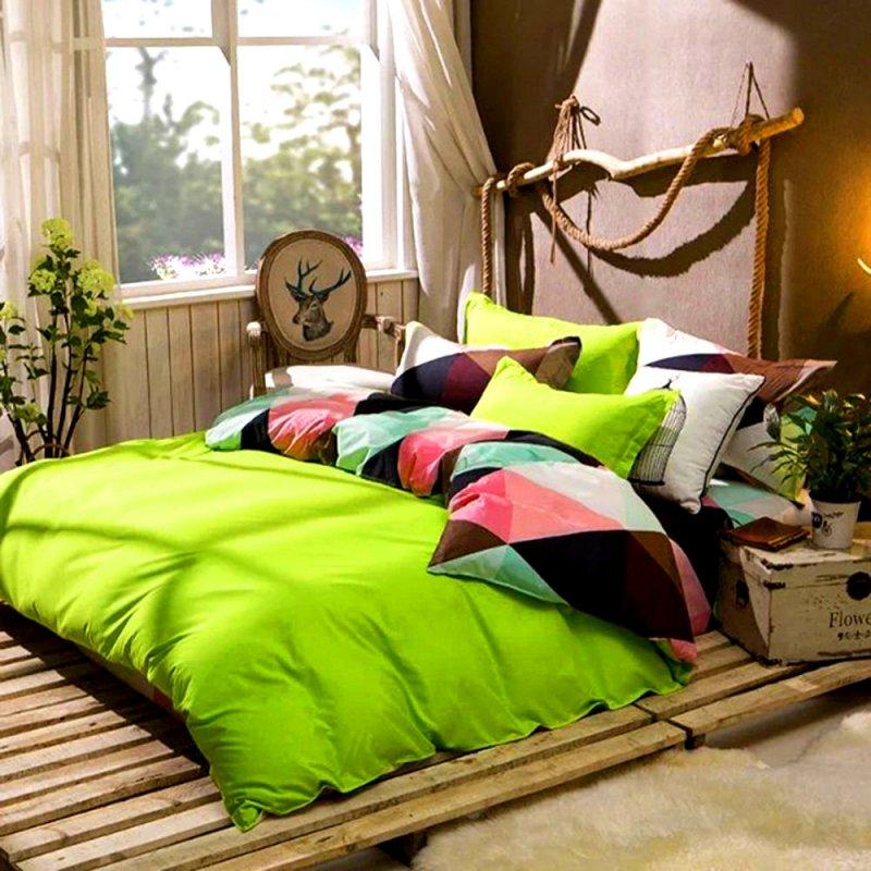Bawełniana Pościel Dwustronna 200x220 Trójkąty Zielony Pościel z bawełny Pościel 3D Kolorowa Pościel 200x220 Dobra Jakość