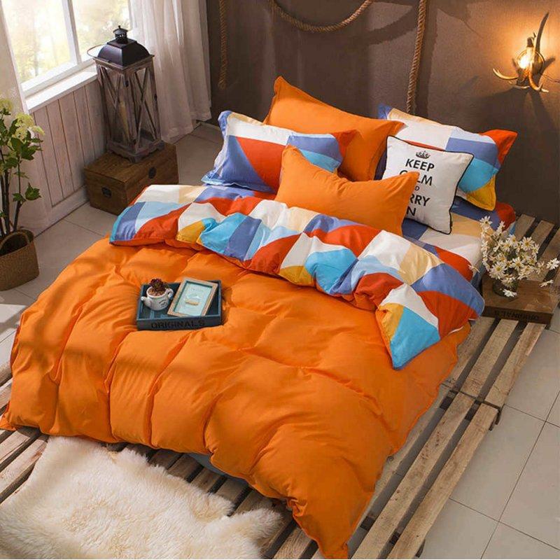Bawełniana Pościel Dwustronna 200x220 Trójkąty Pomarańcz Pościel 3D z bawełny Cotton World Pościel do łóżka 200x220