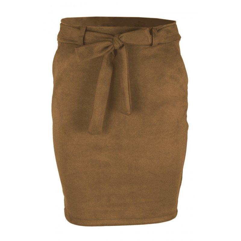 Ołówkowa Spódnica z Elastycznego Ekozamszu - Camel