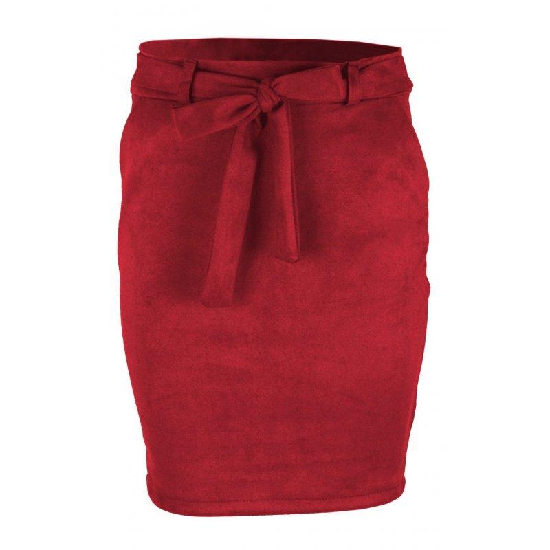 Ołówkowa Spódnica z Elastycznego Ekozamszu - Malinowa