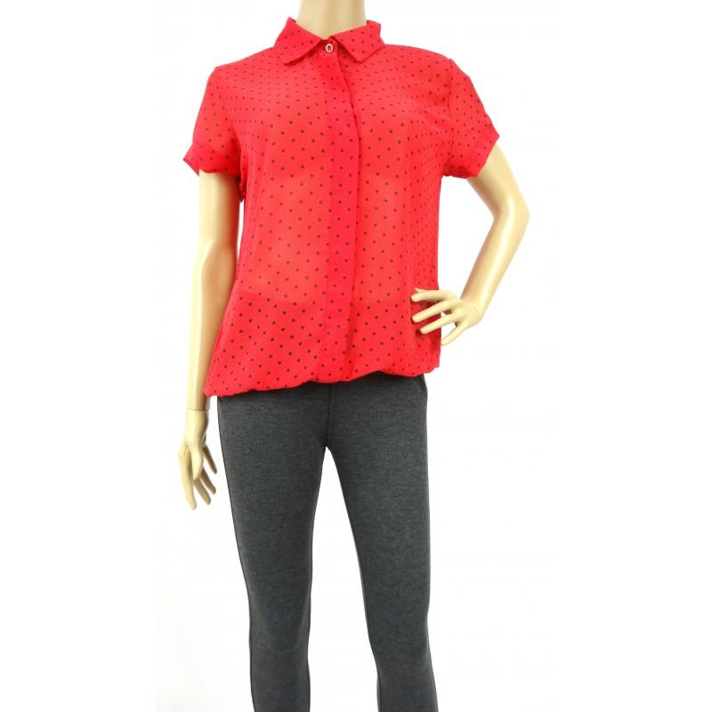 Bluzka szyfonowa z gumką (czerwona)