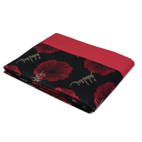 Narzuta na Łóżko 170x200 na Sofę Czerwono Czarna Kwiaty 3762