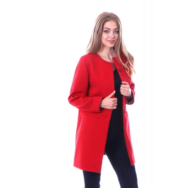 Czerwony Płaszcz DAMSKI Przejściowy bez Kołnierza na Guziki