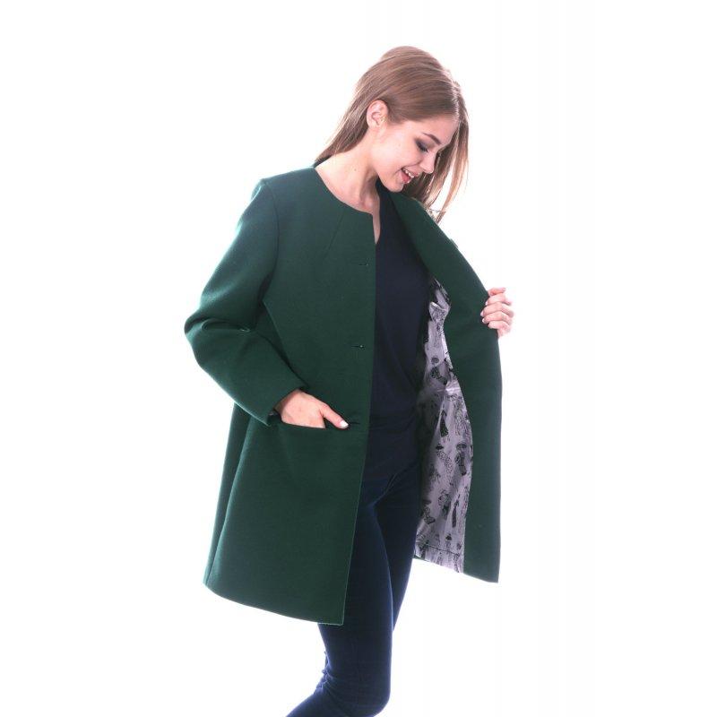 Zielony Płaszcz DAMSKI Przejściowy bez Kołnierza na Guziki