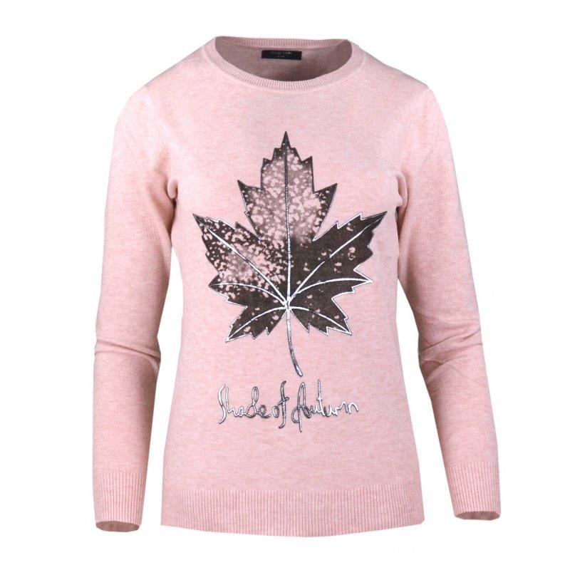 Jasno Różowy Sweter Damski z Liściem Klonu z Modalu