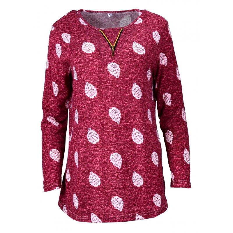 Bordowa Bluzka DAMSKA melanżowa SWETERKOWA - Liście - Swetrowa z długim rękawem