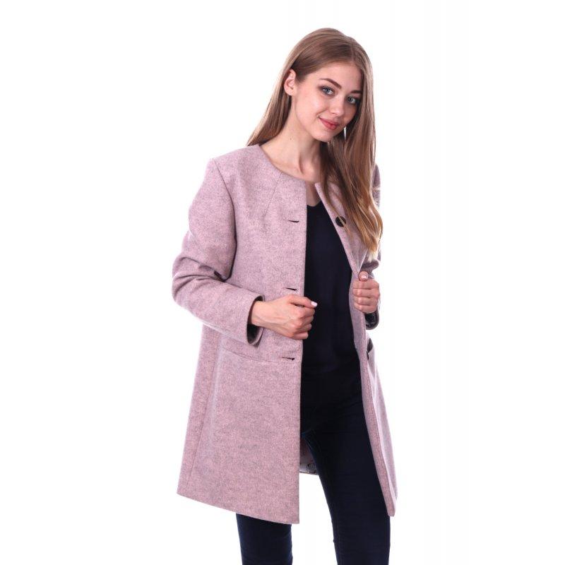 Pastelowo Różowy Płaszcz DAMSKI z Wełną Przejściowy - Melanżowy