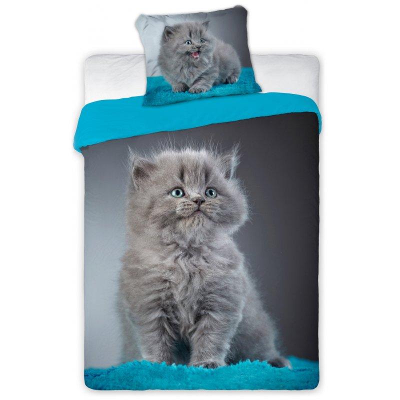 Pościel 3D w koty Zwierzęta 160x200 SZARY KOT Best Friends 010 Pościel dla dzieci z kotkami
