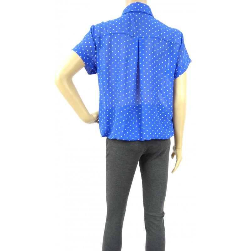 Bluzka szyfonowa z gumką (szafirowa)