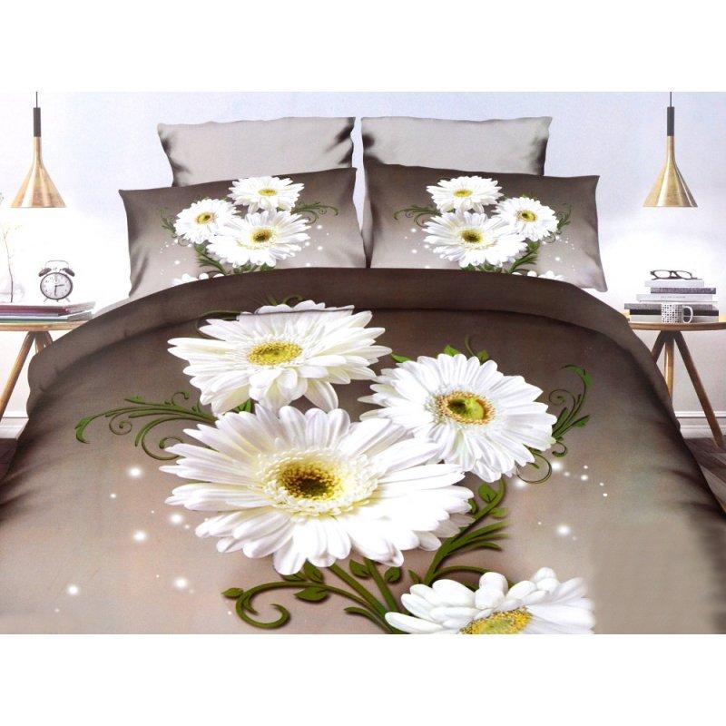 Pościel w Kwiaty 200x220 Satyna Bawełniana 269 Pościel w Białe Kwiaty Pościel 3D Kwiaty Pościel z Prześcieradłem 200x230