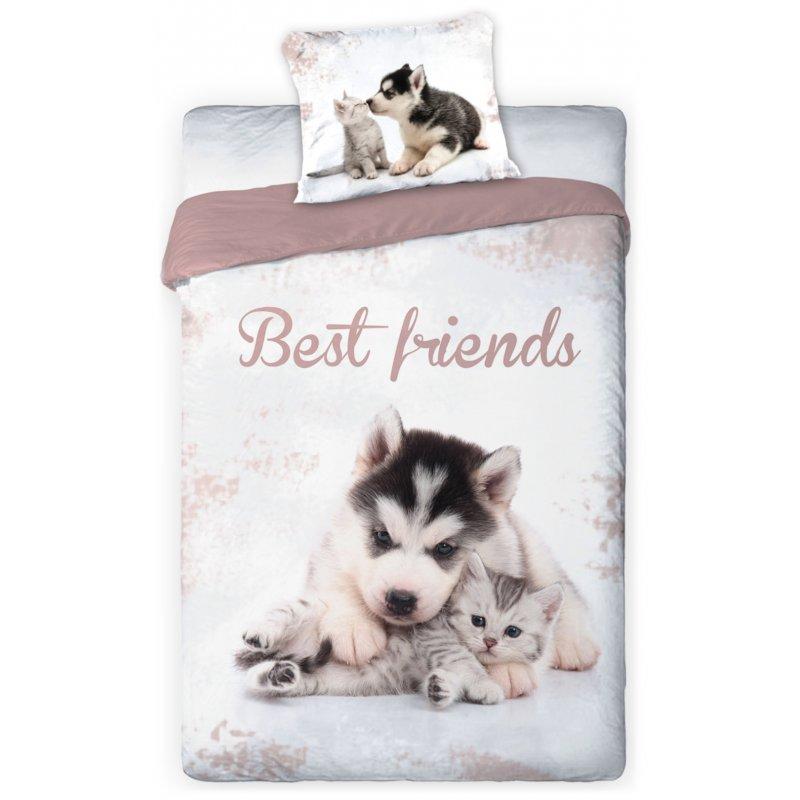 Pościel 3D Zwierzęta 140x200 PIES i KOT Best Friends 002 Pościel dla Dzieci Faro Pościel na 140x200