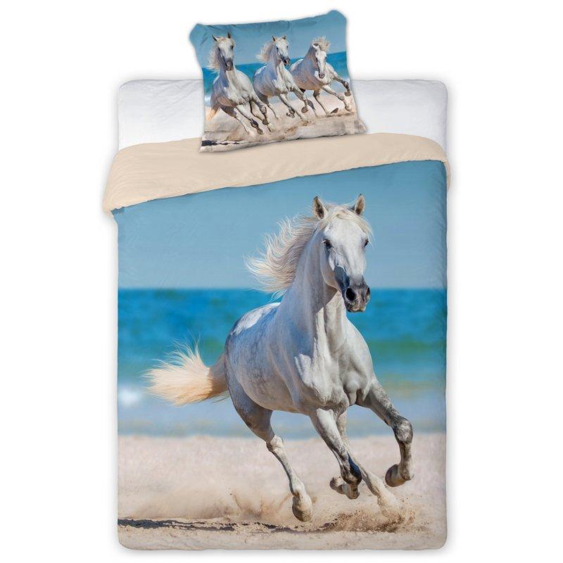 Pościel 3D Zwierzęta 140x200 BIAŁY KOŃ Best Friends 009 Pościel dla Dzieci w Konie z Końmi Pościel 140x200 z Koniem