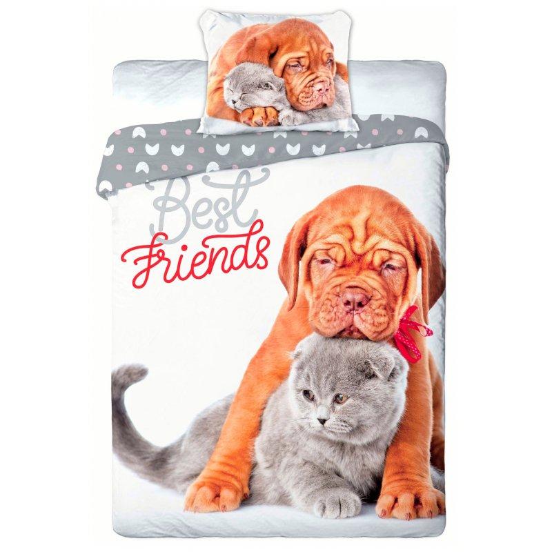Pościel 3D Zwierzęta 140x200 PIES i KOT Best Friends 013