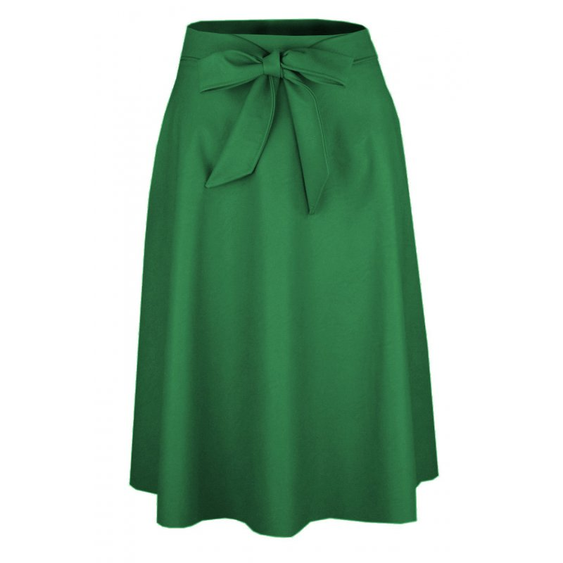 SPÓDNICA Damska Midi z Koła Eko Skóra Spódnica midi butelkowa zieleń Spódnica rozkloszowana midi z kieszeni