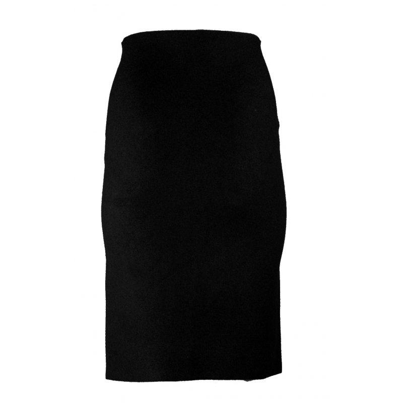 Dzianinowa Spódnica Damska z Guziczkami i Kieszeniami Czarna Spódnica z Wysokim Stanem Czarna Spódnica Młodzieżowa