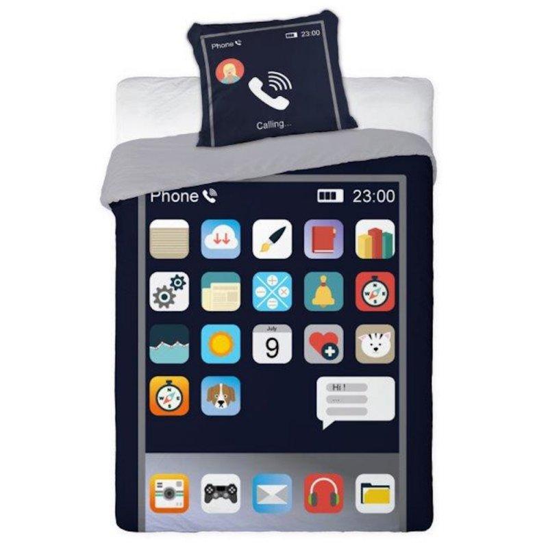 Nowoczesna Pościel Młodzieżowa 140x200 Telefon Smartfon Bawełniana Pościel ze Smartfonem Pościel 140x200 100 Bawełna