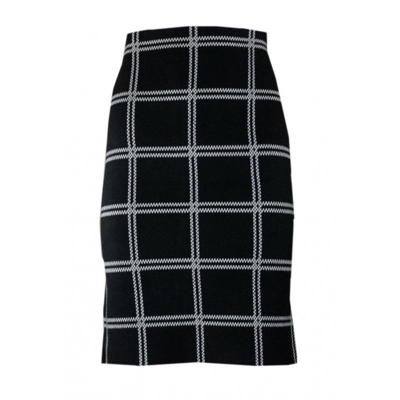 Elastyczna Spódnica z Dzianiny w Szeroką KRATĘ - Czarna Spódnica Dzianinowa Spódnica Ołówkowa w Kratę